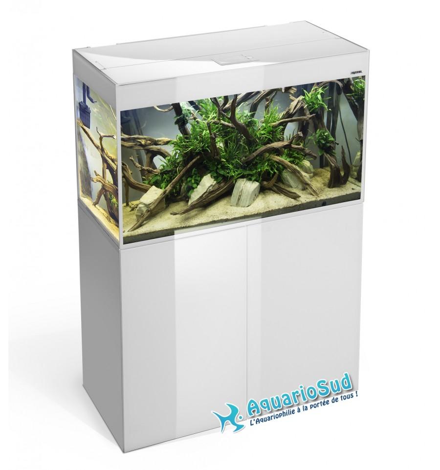 Aquael aquarium et meuble glossy blanc 80 125 litres for Achat aquarium complet